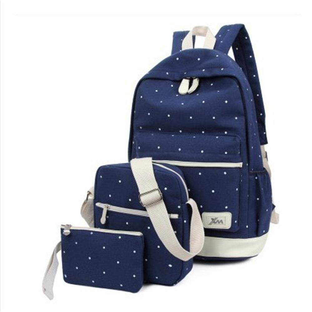 Teenager Student Backpacks Three Pieces Large-capacity Canvas Simple Polka  Dot Lace Decoration Rucksack Women 42a216ae0d520