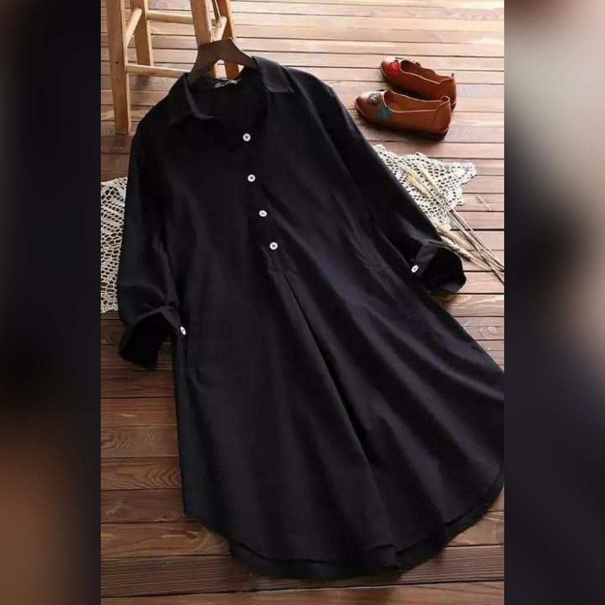 Black Cotton Blouse for Women