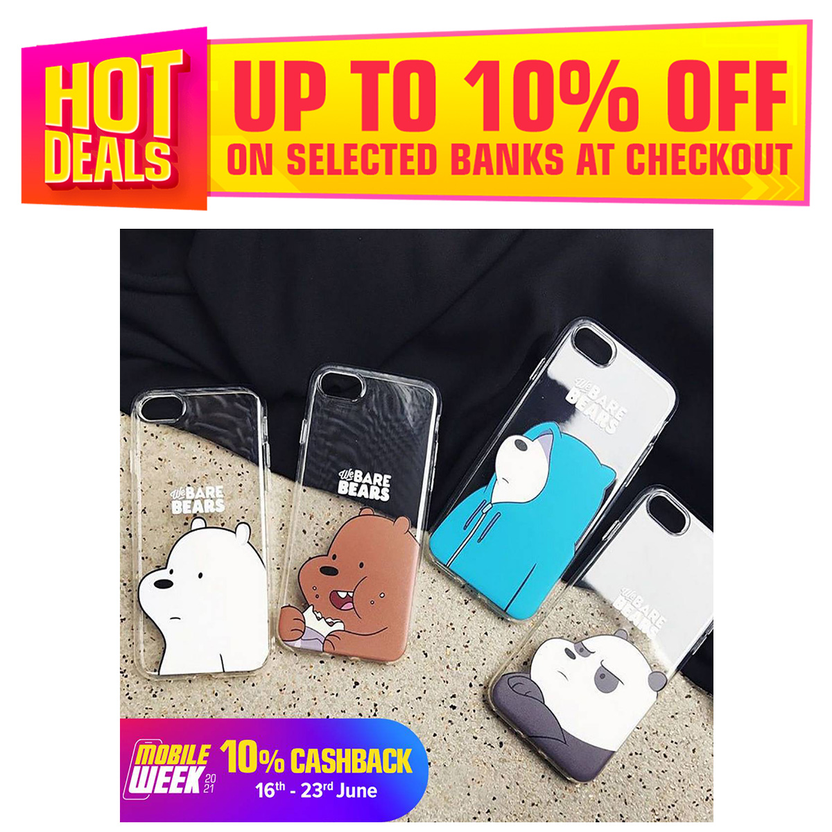 Bare Bears Tags Stickers, Printed Transparent Mobile Case, All Models Are Available.