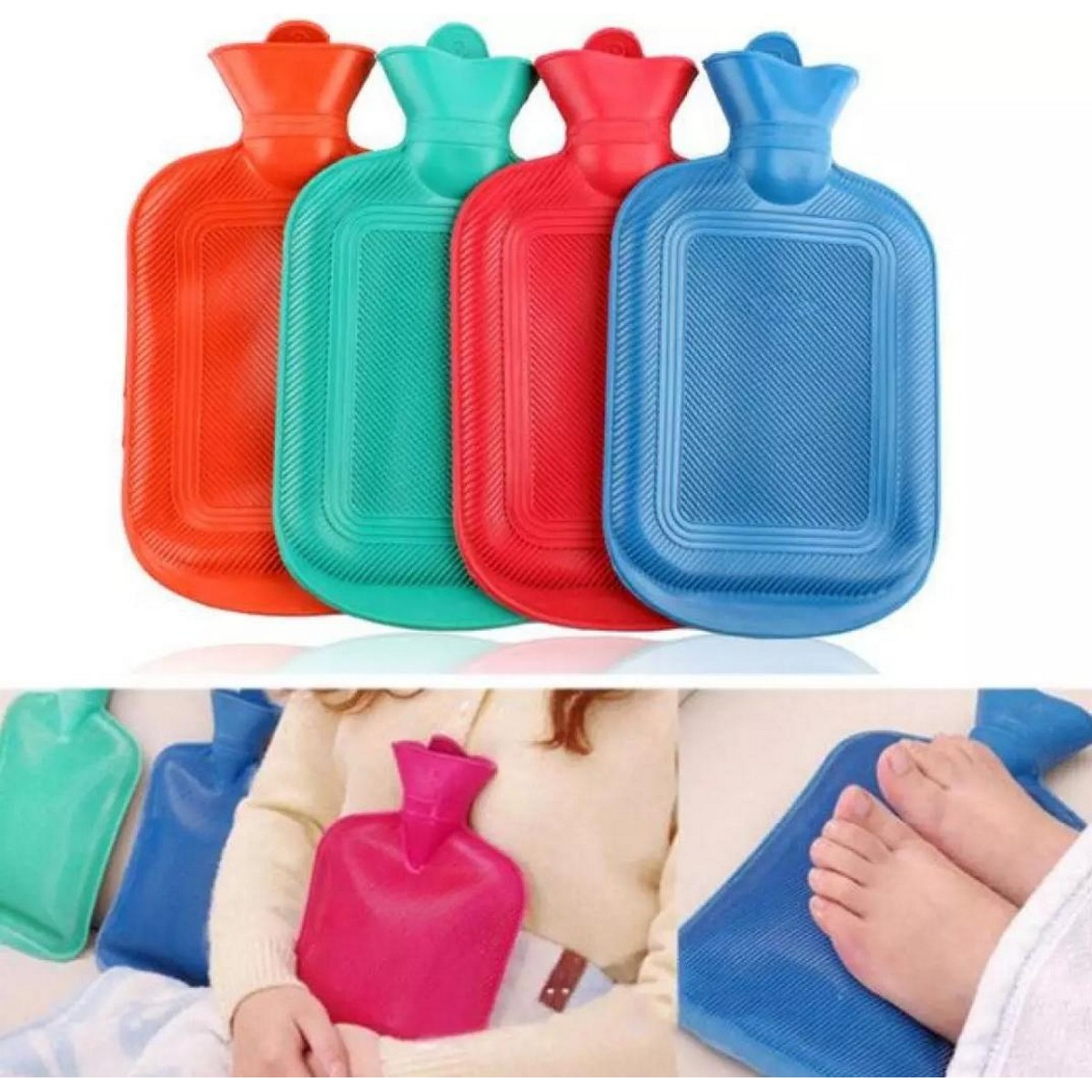 Hot Water Bag / Bottle - Rubber Large 2 Liters - Red