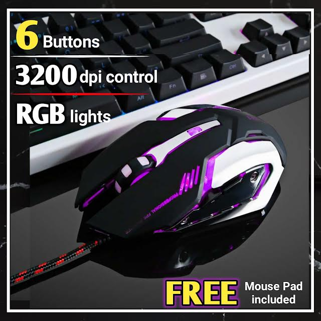 3200 DPI Gaming Mouse with 6 Programmable Buttons - Pro for Pubg / Fortnite / DOTA 2