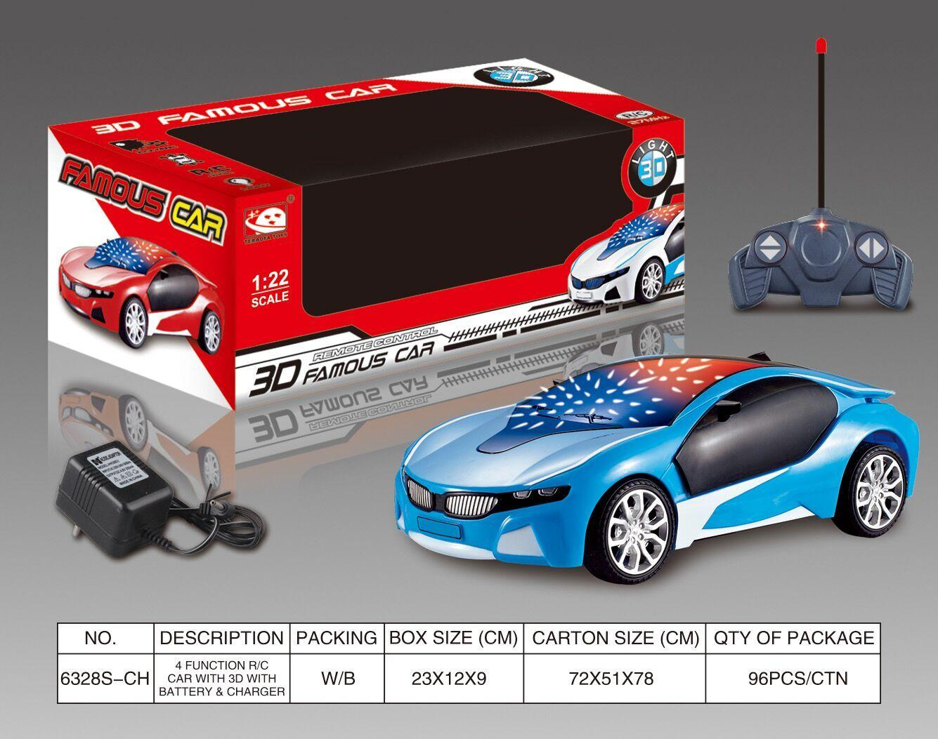 3D Famous Car 4 Channel RC Remote Control Cars with 3D Lights(Included Battery and Charger ) No.:6328S-CH