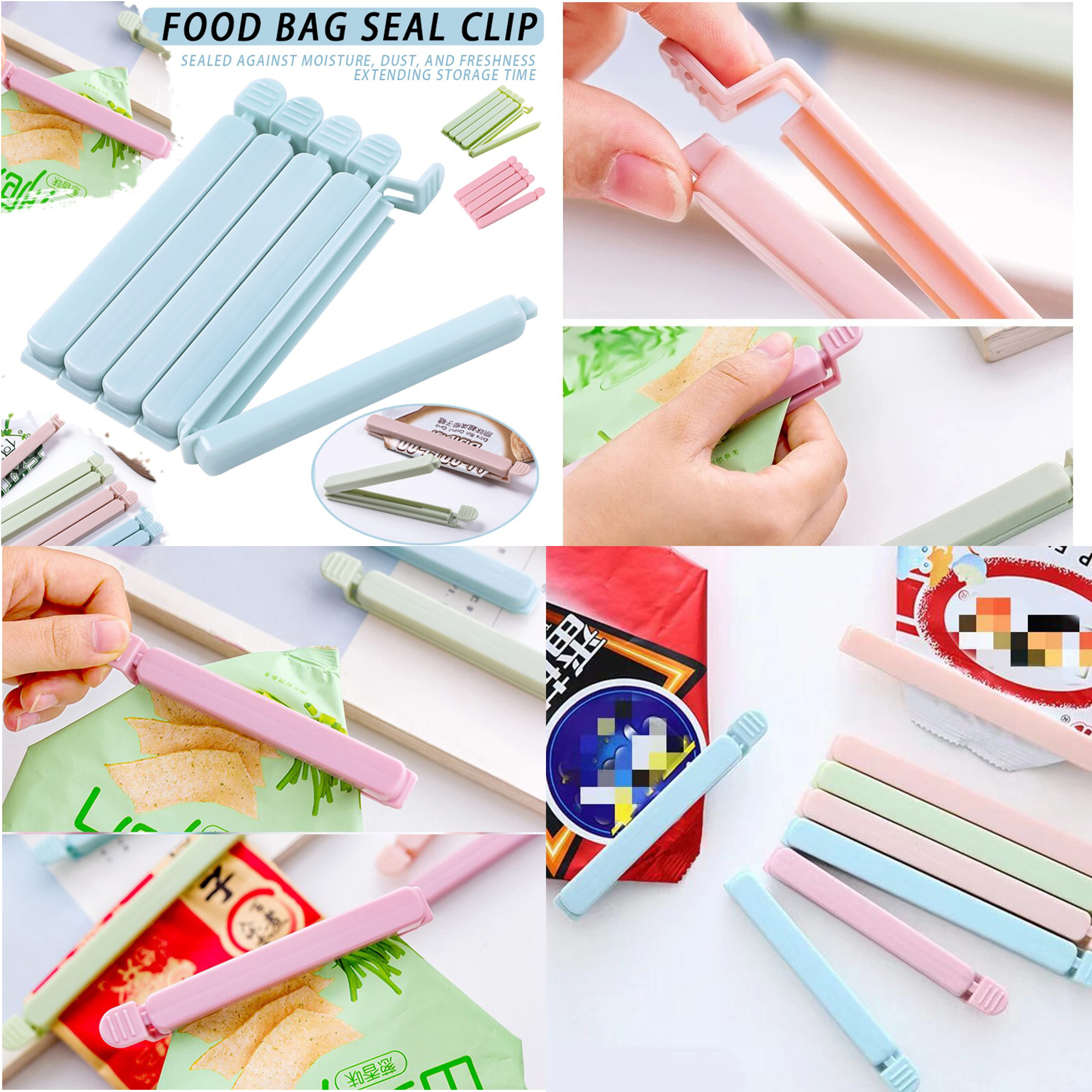 Pack of 5 Food Sealer Snack Bag Sealing Clamp Plastic Sealer Tool For Kitchen Household Seal Close Clip Portable Colorful Eco-Friendly Fresh Food Sealing Pliers Household Snack Bag Clip Household bag seal clip For Eating Items Freezer Fridge Organizer