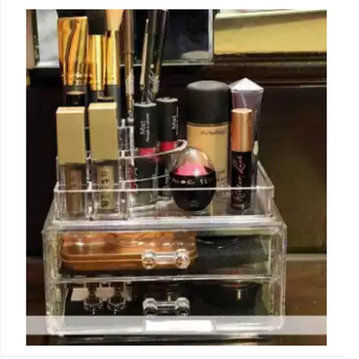 Acrylic 2 Drawers Trapezoid Lipstick Makeup Display Stand Cosmetic Organizer Holder Case jewelry Box Storage