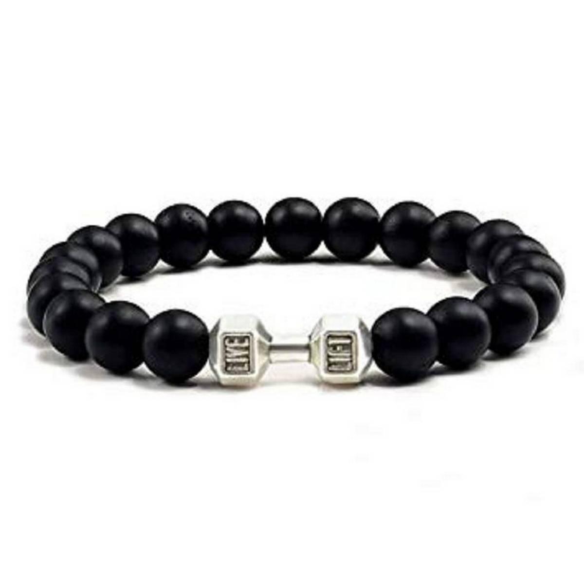 Dumbell Bracelet For Men - Black