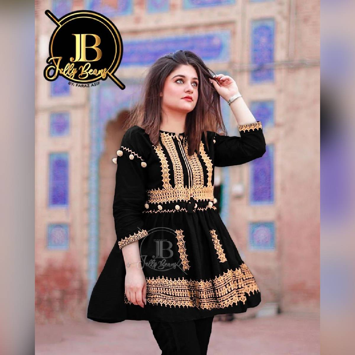 Stitched Heavy Embroidery Peplum Frock Winter Two Piece Suit (Shirt+Trouser) Embroided Kurti With Trouser For Women Multi Colors