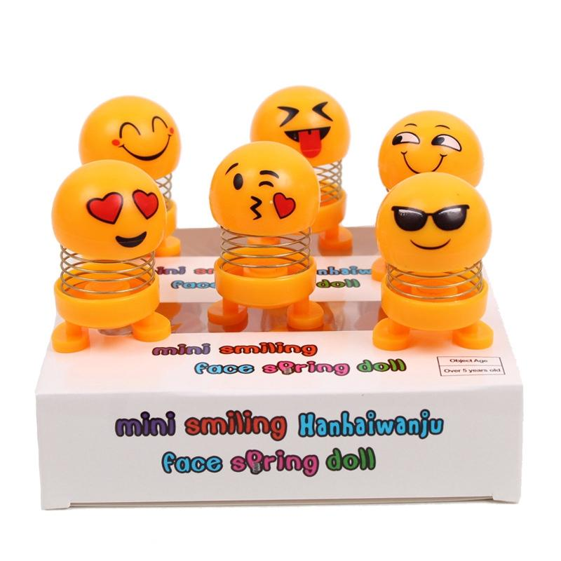 6 Piece pack of Mini Spring smiles funny emoji shaking head car accessories doll funny smiley spring dancing toy car decoration