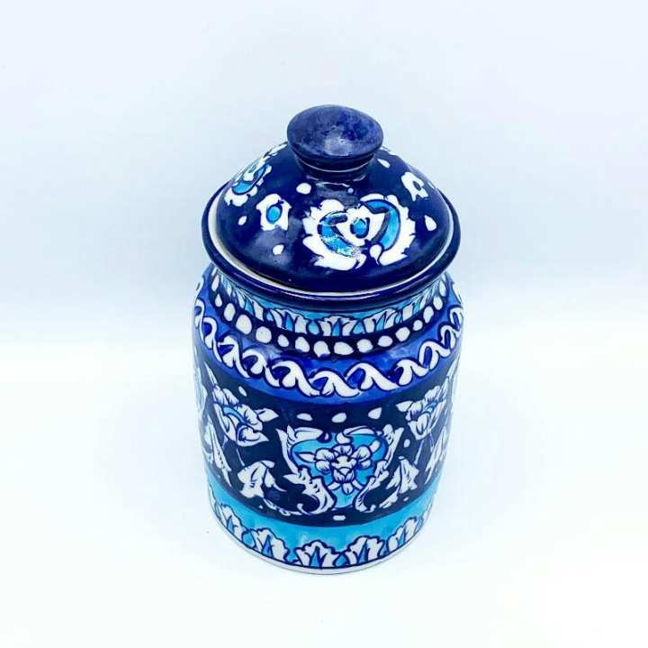 Blue pottery Cookies Jar Hand crafted ,Hand Painted