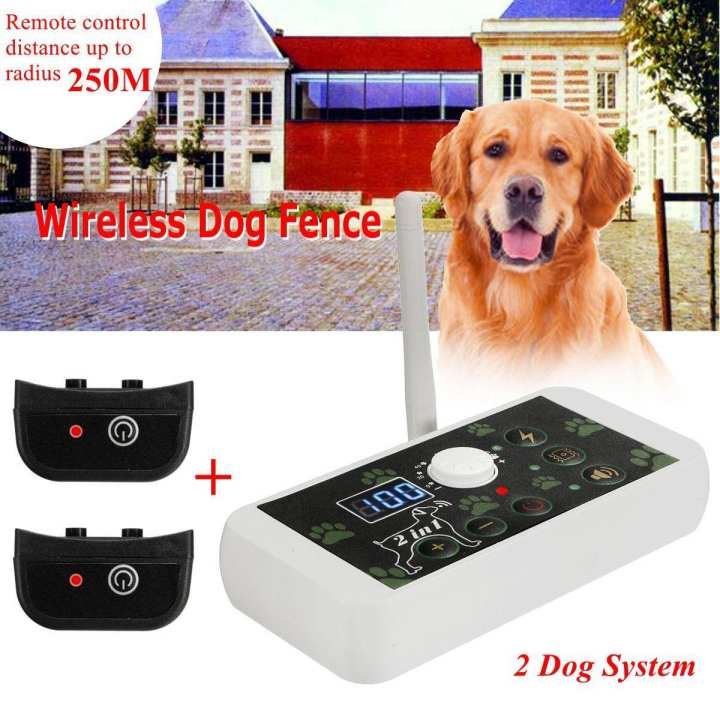 Wireless Electric 2 Dog Systems Pet Fence Containment Rechargeable Transmitter US Plug