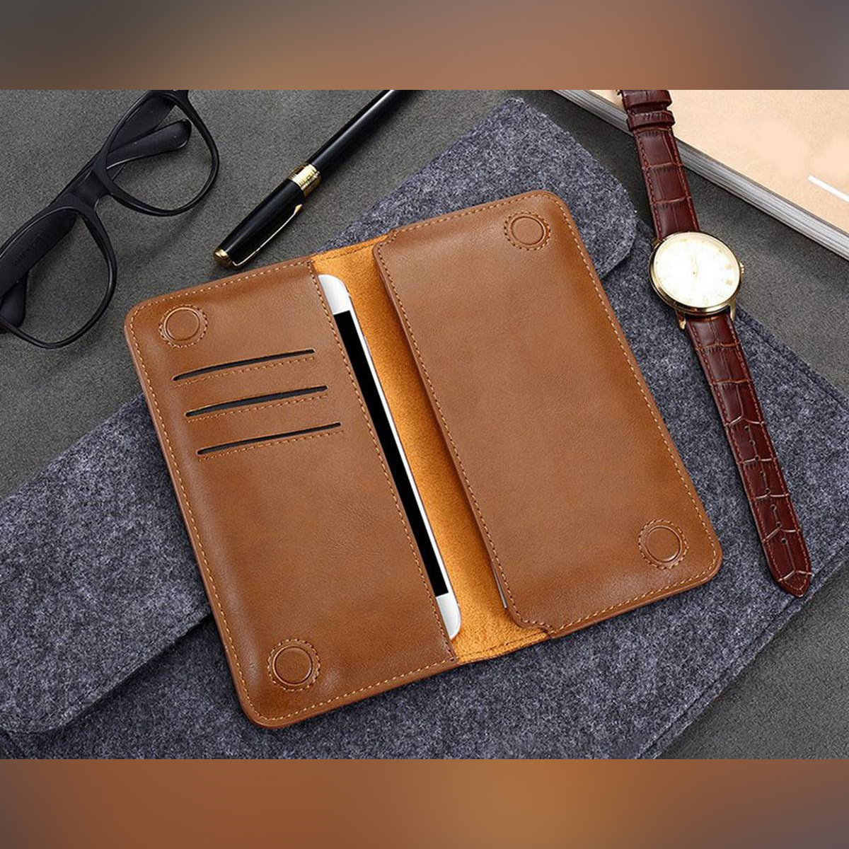 Leather Long Wallet for Men Mobile Pouch Card Holder with Magnetic Lock