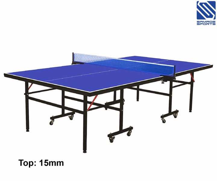 Imported Foldable Ping Pong Tennis Table Set with Wheels for Outdoor and Indoor - 15 mm - Blue