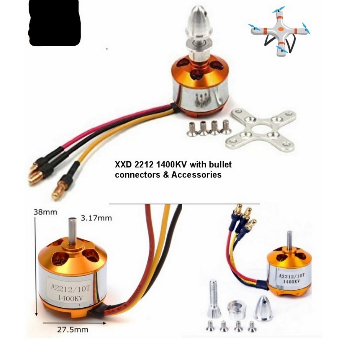 1400KV Brushless motor A2212 with Parts For Rc Plane, Quad