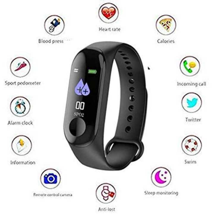 M3 Intelligence Yoho Smart Bluetooth Health Bracelet Band - BP, Heart Rate Monitor and Call / Message Reminder Waterproof Fitness Bracelet Band - 0.96 inch Screen Bluetooth 4.0 Call / Message Reminder Heart Rate Monitor for Android & iPhone - Black