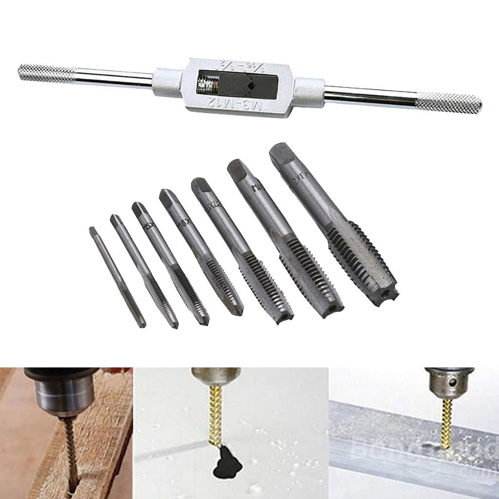 8 Pcs Hand Screw M3-M12 Thread Metric Plug Tap Set With Adjustable Tap Wrench