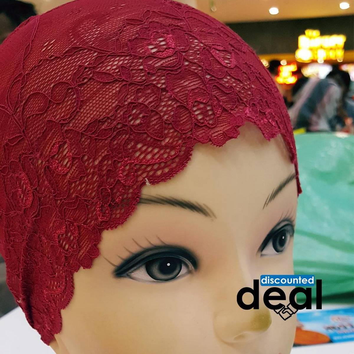 lace net maroon Muslim Headscarf Inner Hijab Caps Wraps Women Islamic Under Scarf Ninja Scarf Ramadan Stretch Cotton Bonnet Caps