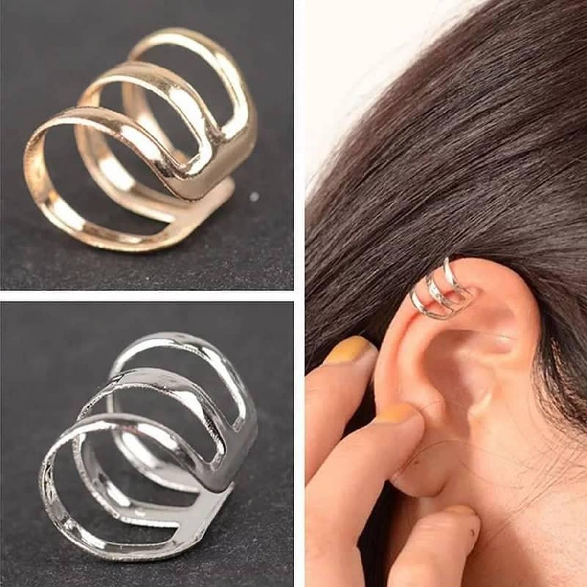 Single Piece Silver Earcuff Girls Fashion Earring Ear cuff Trendy Jewellery Women - 01 Pc