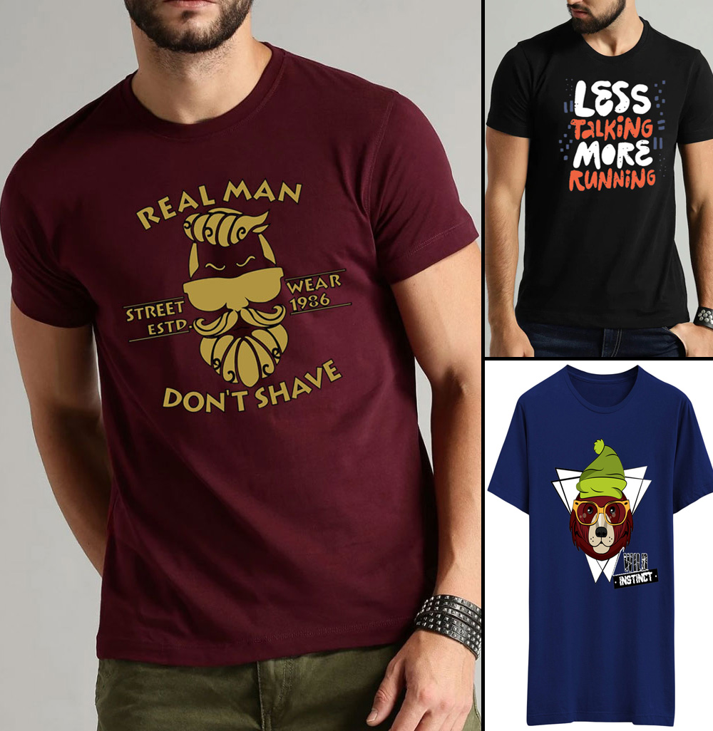 Casual Cotton Printed Summer Crew O Neck Half Sleeves T Shirt of Men and Boys for Gym and Sports