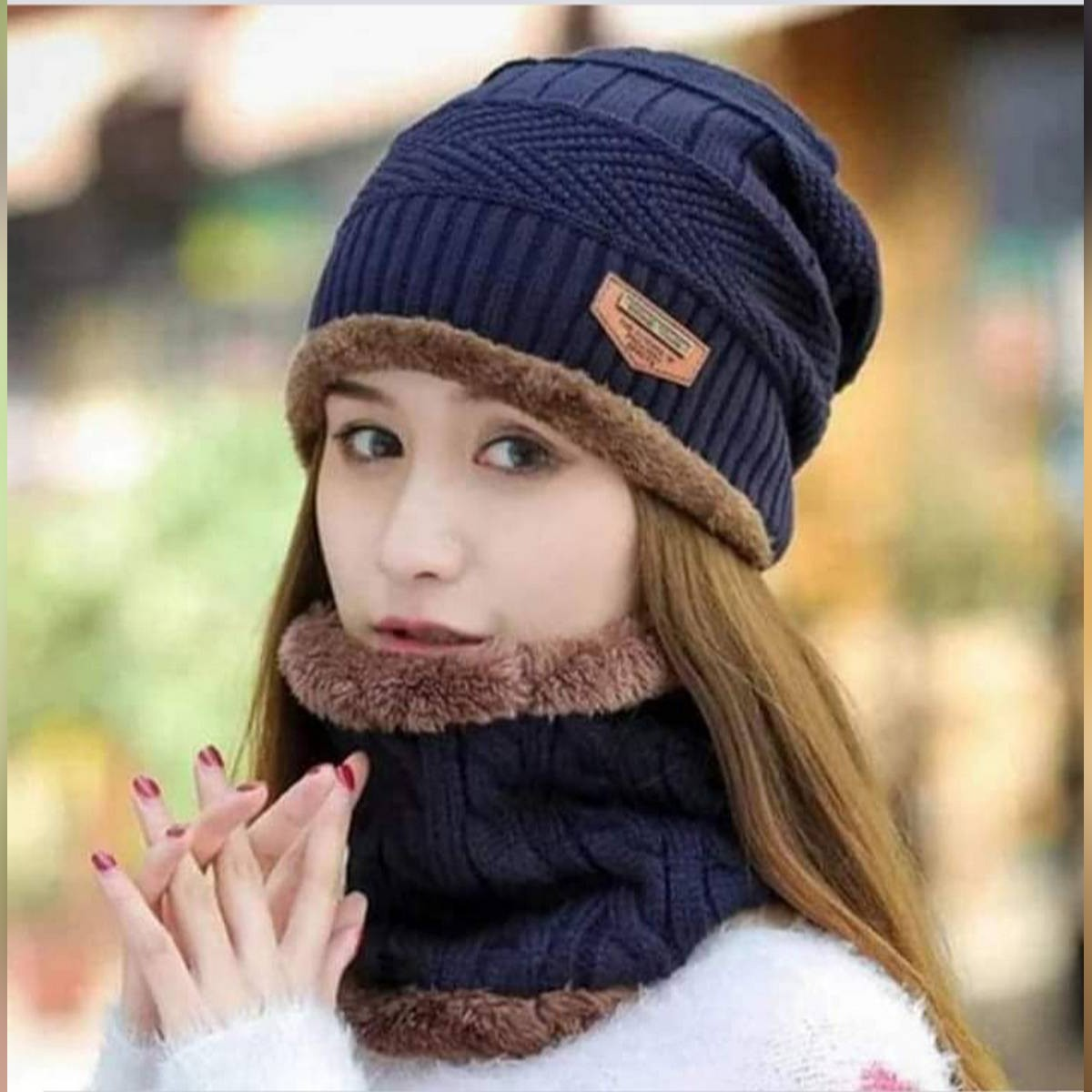 UNISEX Hot Knitted Cap Neck Warmer Winter Hat, Hot  Cap and Neck Warmer