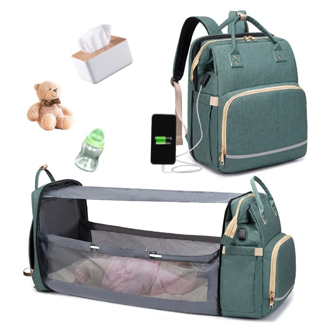 Fashion New Diaper Bags Backpack Multifunctional Foldable Baby Bed Crib Bag Large Capacity Stroller Bag Insulation Nursing