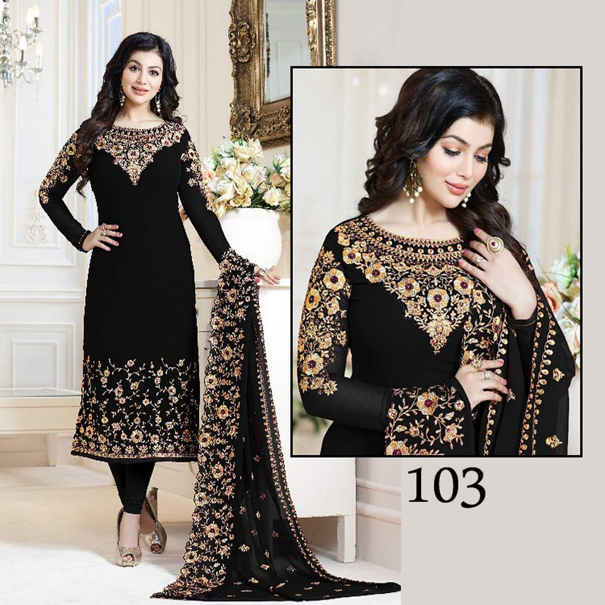 Black Ladies Chiffon Embroidered Party Wear Dress