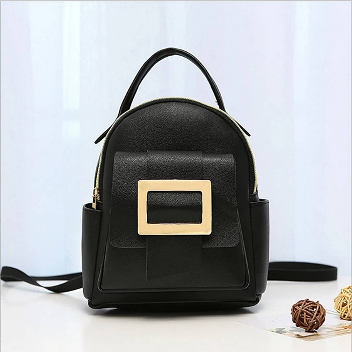 3 Styles use Pu Leather Material Mini Bag for Stylish Girl's (Backpack+Hand Carry+Side Shoulder)