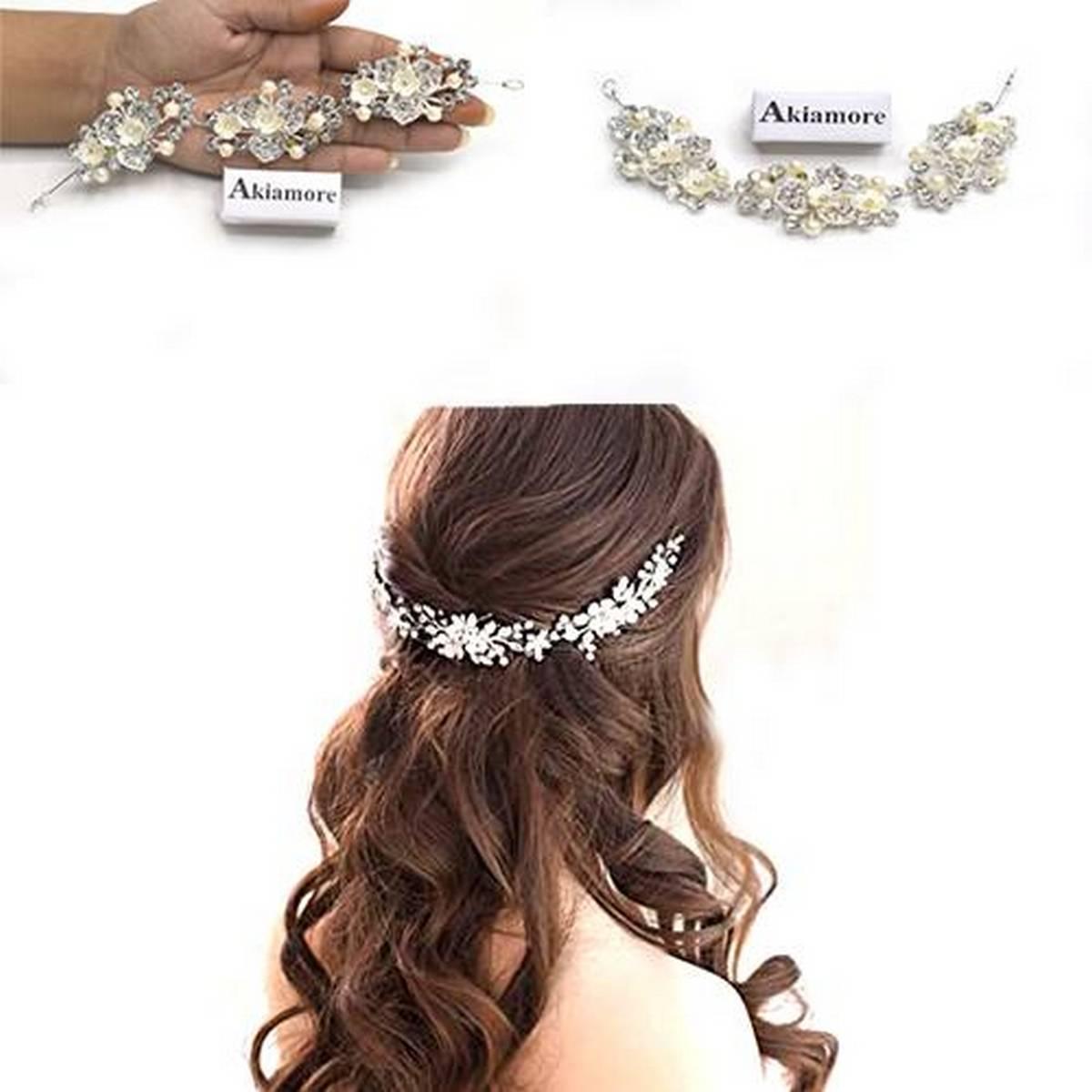 Crystal Pearl Hair Belt Wedding Bridal Hair Ornaments Hair Jewelry Decorations for Brides Wedding Hair Accessories