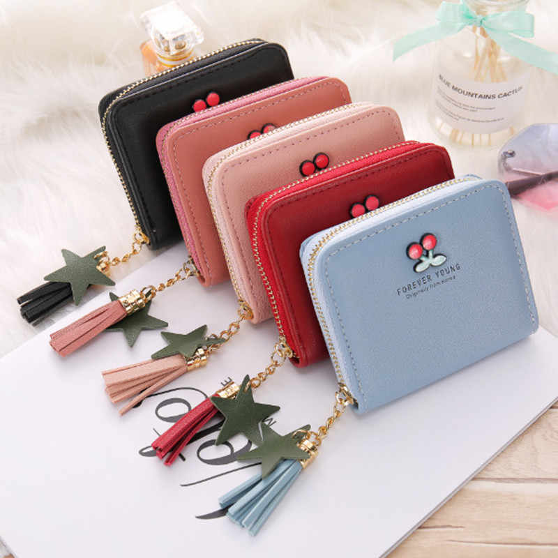 PU Leather Cherry Embroidered Wallet for Women