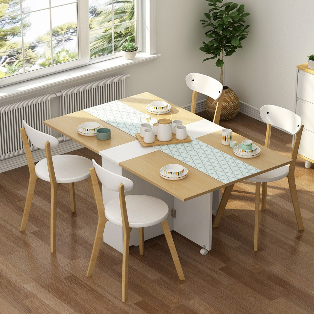 """Clever-Space saving folding dining table-TWDT8-white and Brown, White and camal, Extendable Table with Cabinets, Home Kitchen Furniture Decor Lunch/Computer Desk Storage Rack, 55""""L x 31.5""""W, Chairs Not Include"""