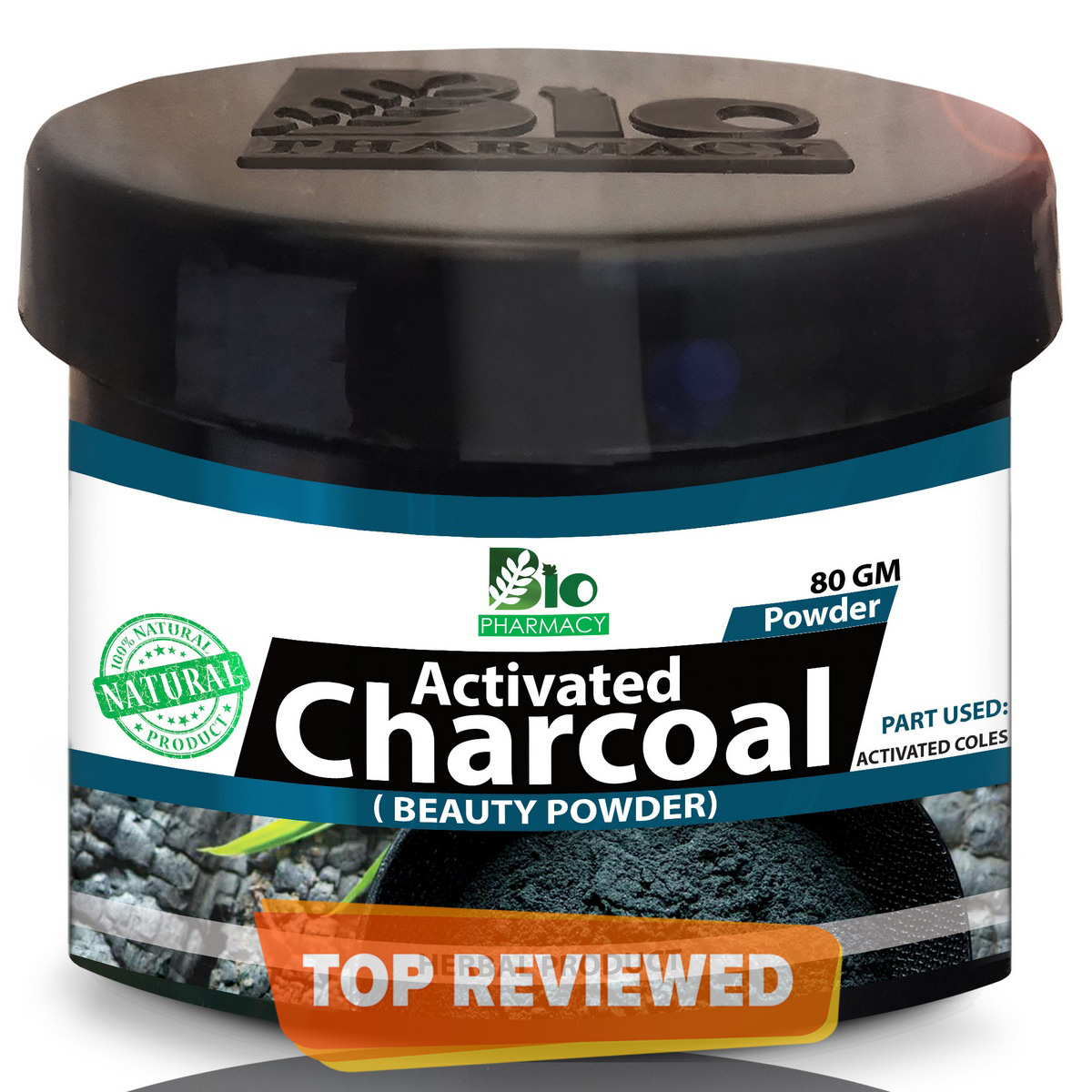 Activated Charcoal Fine Powder - Charcoal Face Mask Powder - 100% Natural - 80 gm