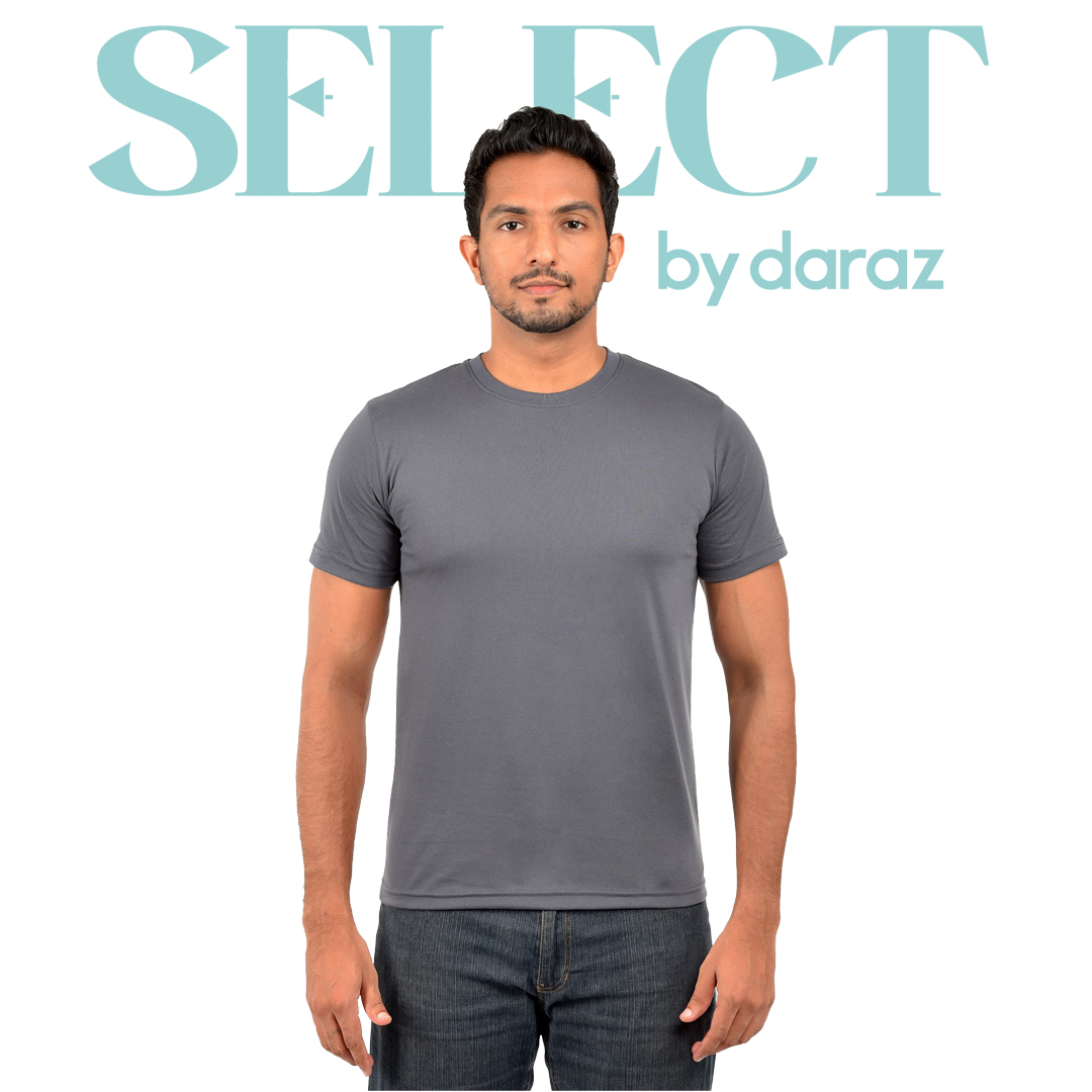 Select by  Basic Round Neck T-Shirt For Men - Charcoal