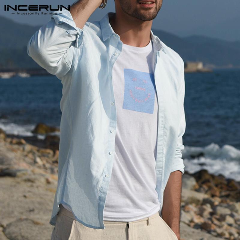 INCERUN Men's Linen Collar Shirt Long Sleeve Cool Loose Casual Shirts V-Neck Tops Blouse
