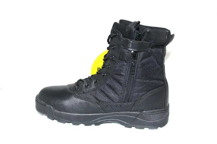 Parashot Black Leather Durable Military Safety Shoes Zipper, Lace Hi-Cut