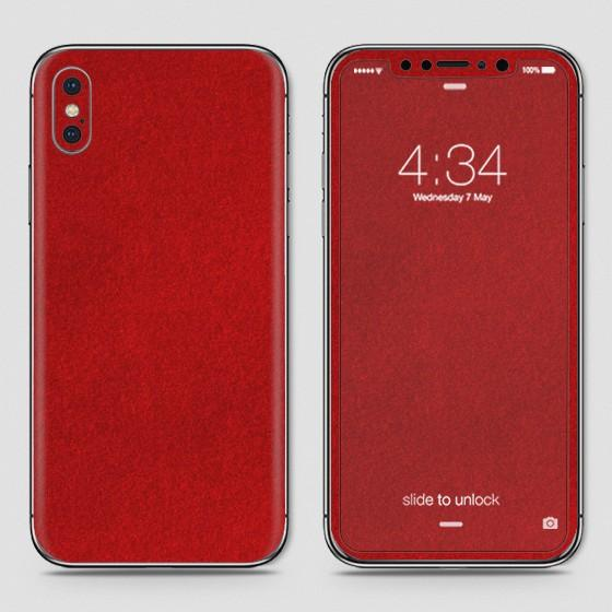 iPhone XS Skin - SkinLee HQ Vinyl Skin Wrap (Not Cover) - Red Suede
