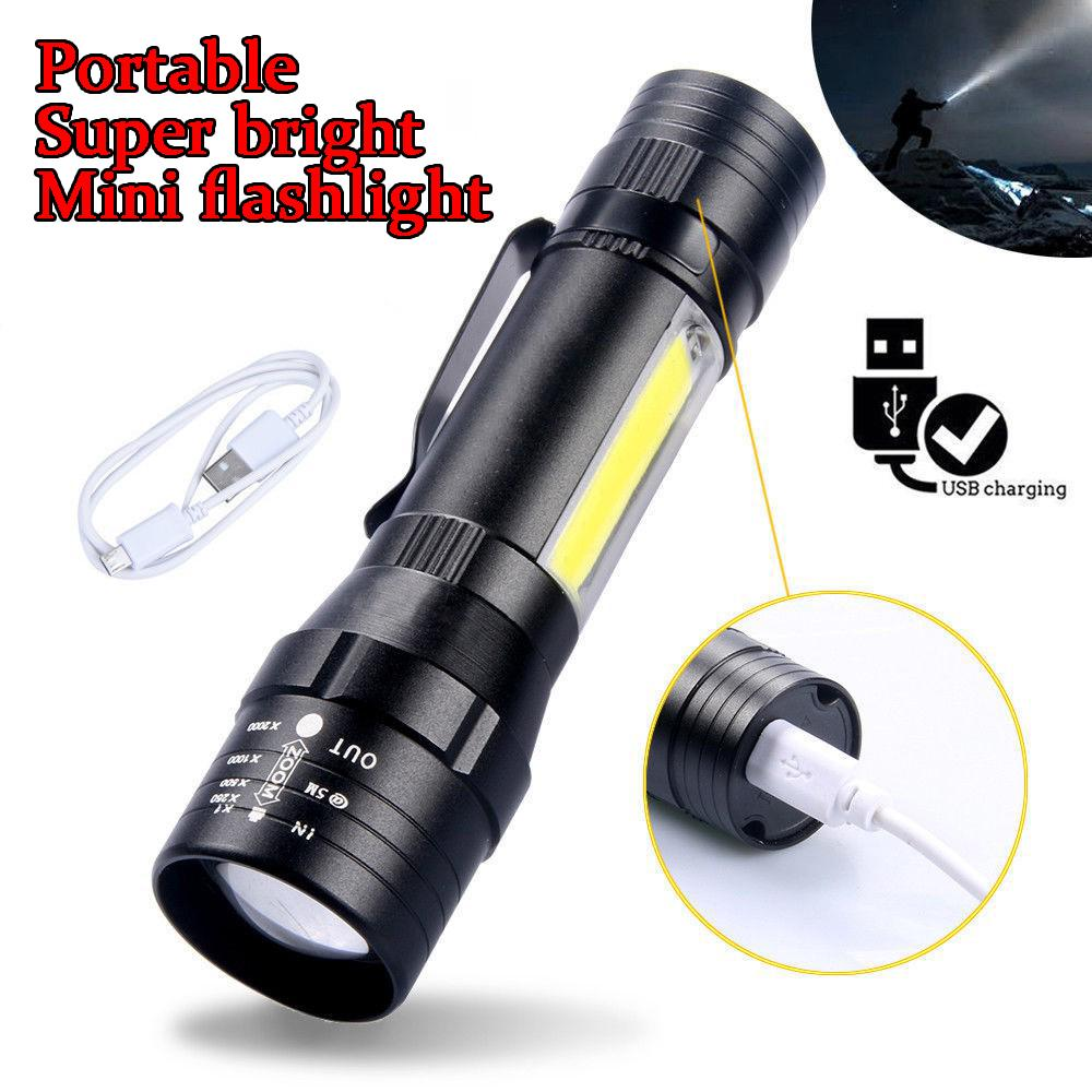 Zoomable Rechargeable LED Torch light - With Micro USB Cable and Case - Steel Design