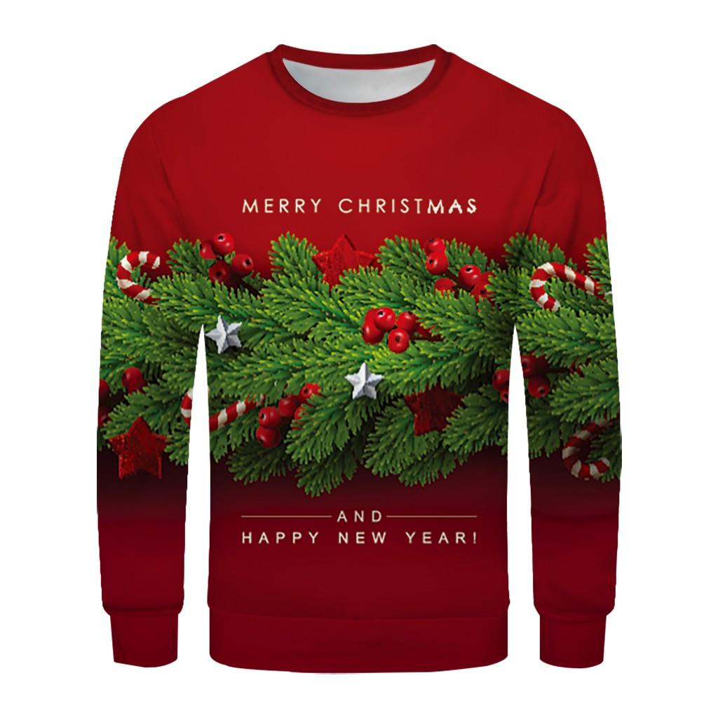 Ready Stock New Product Christmas Couple's 3D Printed Long-sleeved Sweater With Round Collar Blouse