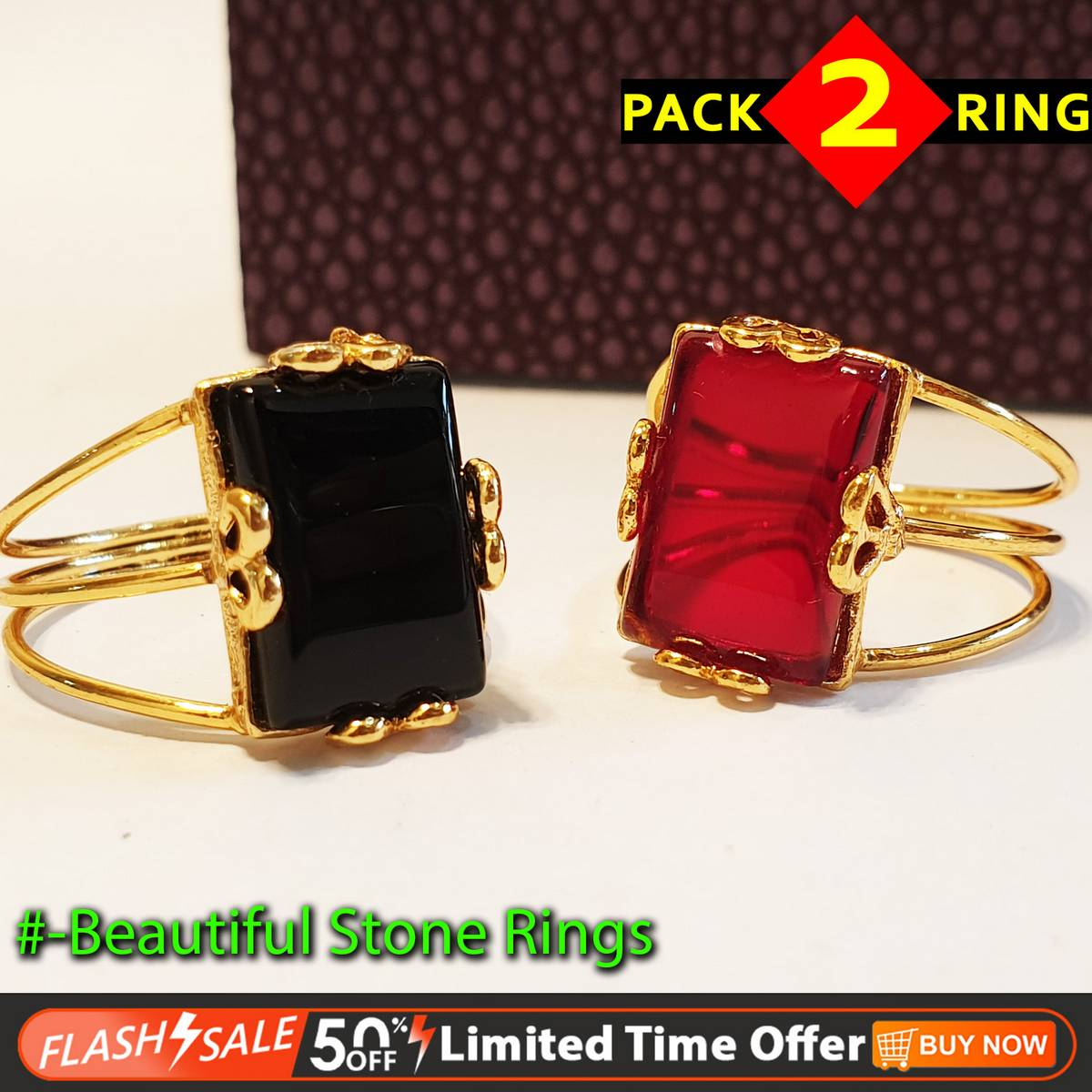 Pack of 2 - Stylish Gold Plated Rings For Lady Girl - Wholesale Price