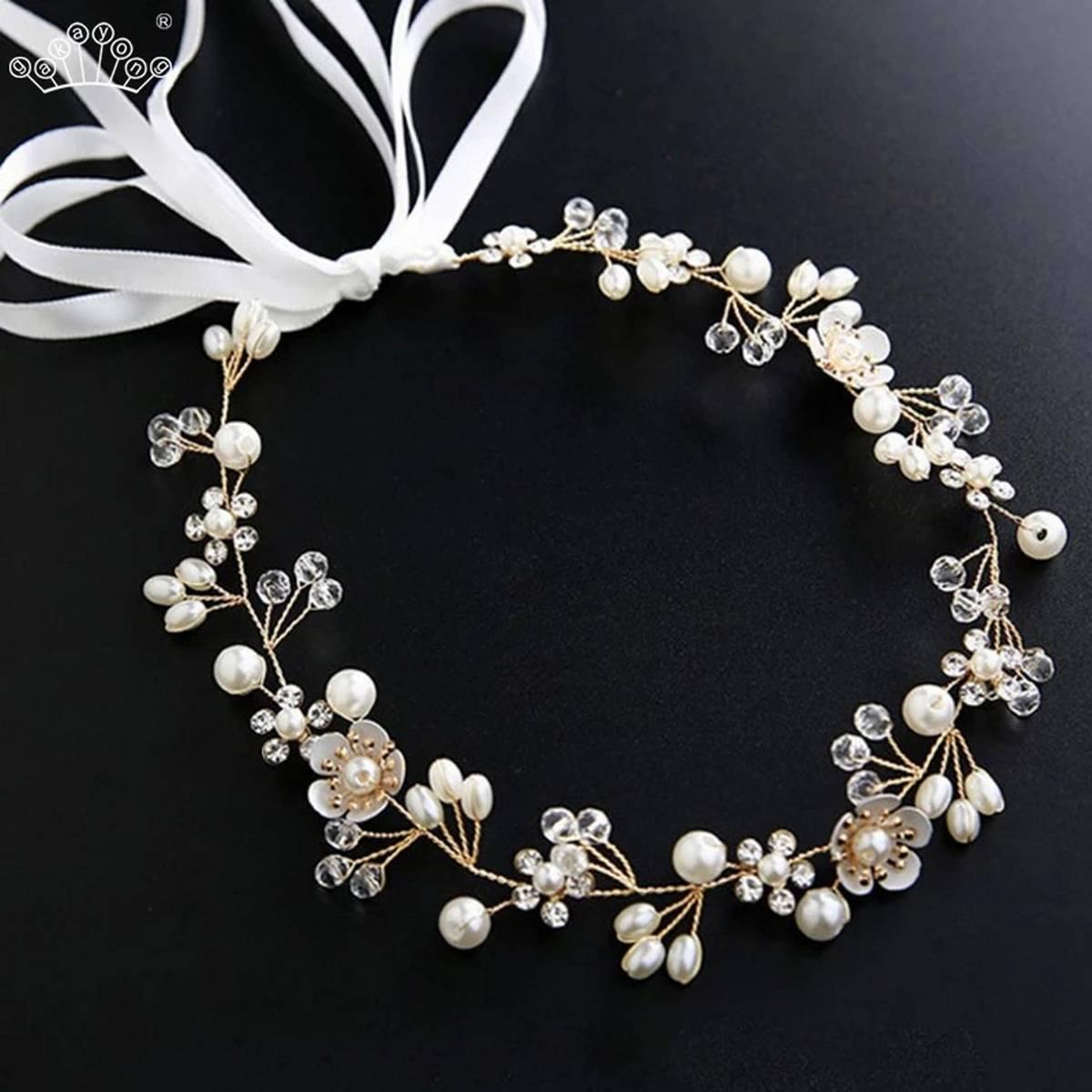 Elegant Bridal Wedding Hair Accessories Crystal Pearl Flower Girl Headband Ribbon Headpiece Hair Jewelry Accessories