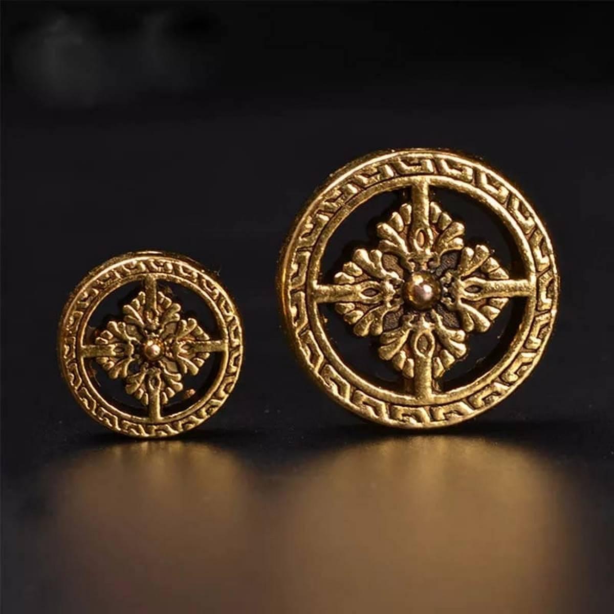【Golden Round Wheel】5Pcs/lot Vintage Tibetan Golden Round Wheel Beads 18x5mm Flat Metal Buddha Spacer Beads DIY Jewelry Making Decoration Findings Dabu Collection