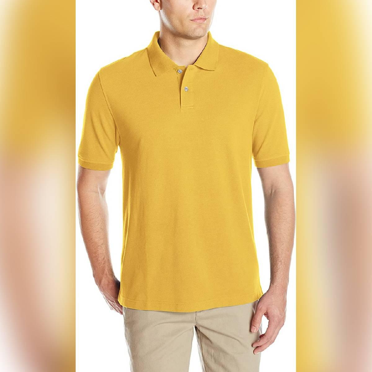 Anace Yellow 100% Cotton Polo Shirt for Men's