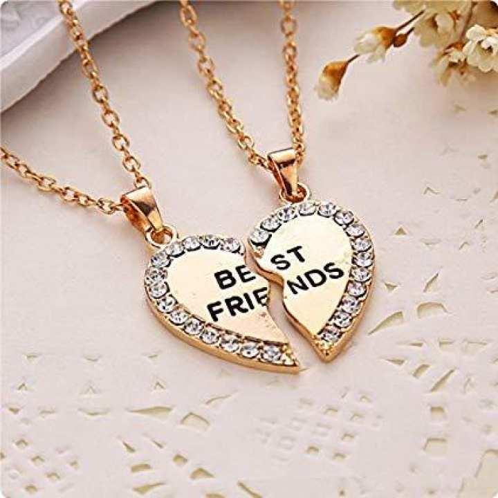 Best Friends Pendant Necklaces Heart Shape necklaces Rhinestone Gold