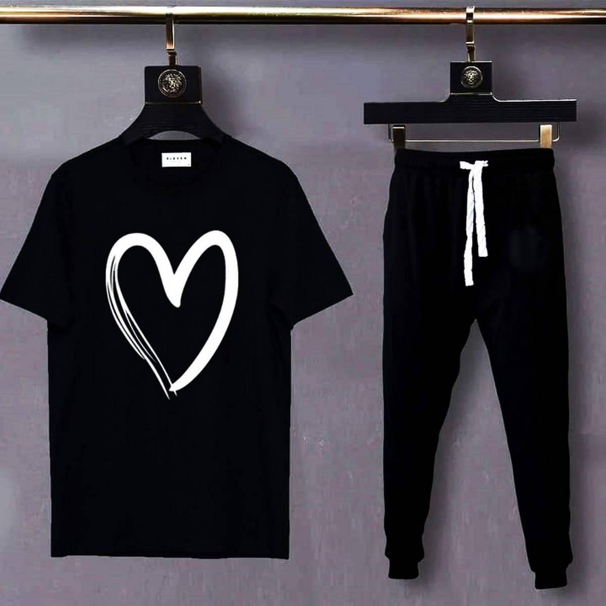 Heart Shape Summer Collection Casual Cotton Round Neck Tees Half Sleeves Top Quality Printed T Shirt And Trouser For Women Girl - Shez Fashion