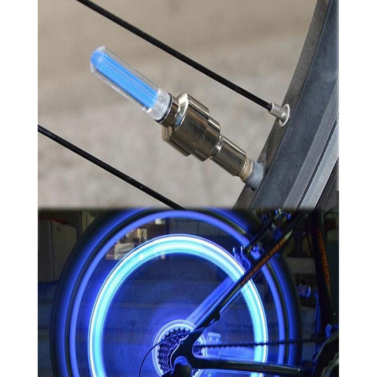 2 Pcs LED Flash Waterproof Bicycle Accessories Wheel Tyre Tire Valve Caps Neon Night Light Bulb for Bike Car Motorcycle