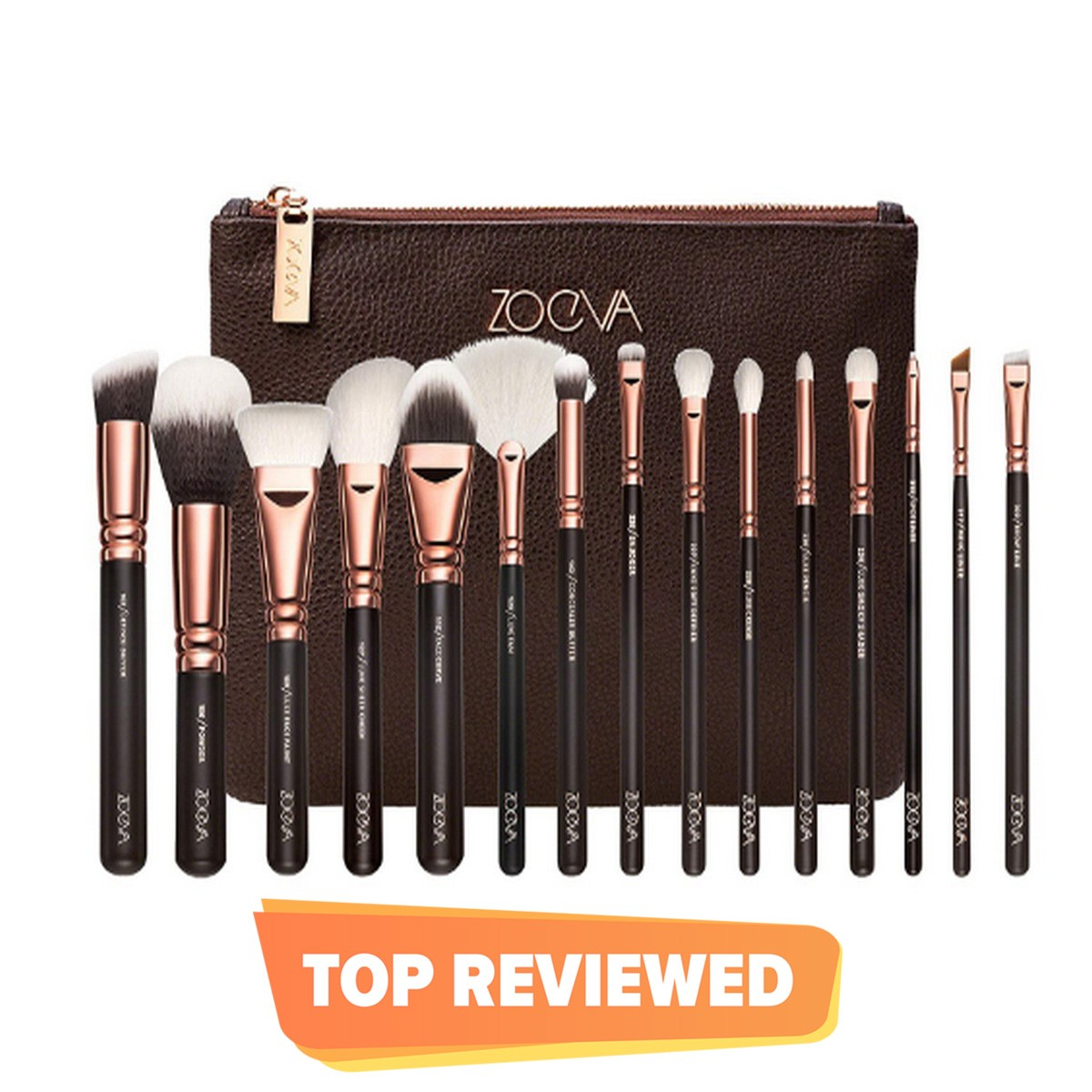 Zoeva Makeup Brushes,15 Pieces  With Leather Pouch