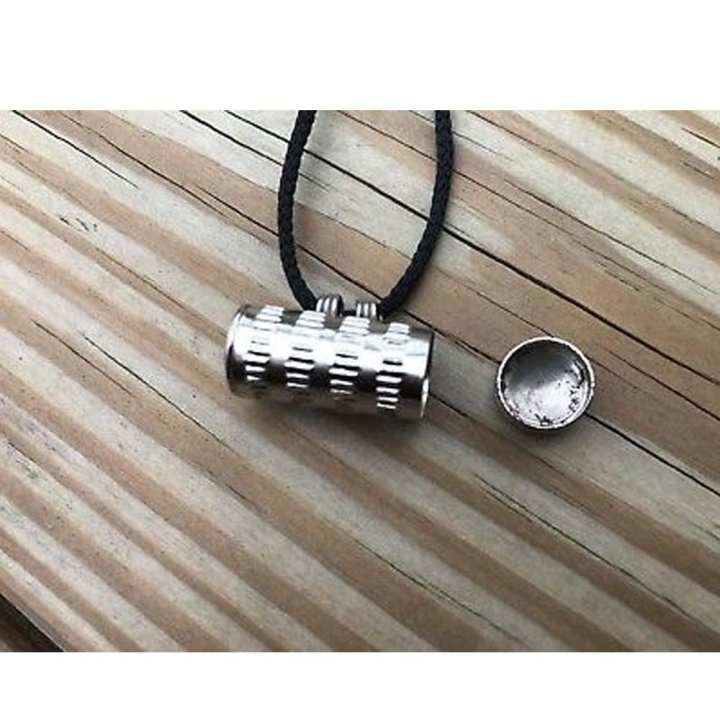 Silver Taweez Box Pendant Antique Style.With Black Cord