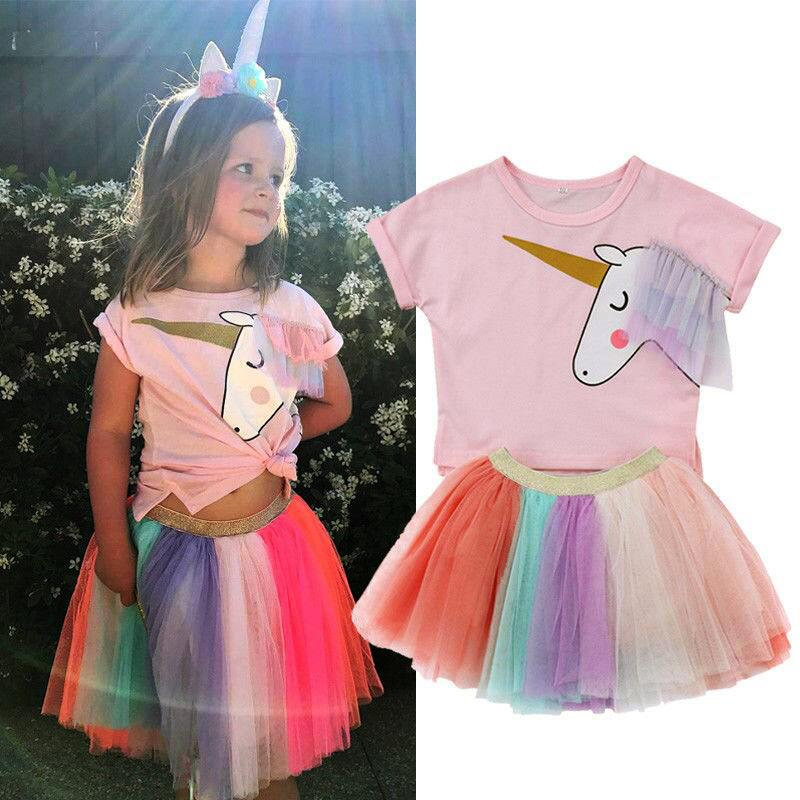 1f03aae9da56 Children S Summer Girl Short Sleeve Unicorn T-Shirt Top + Colorful Skirt  Two Set Children S