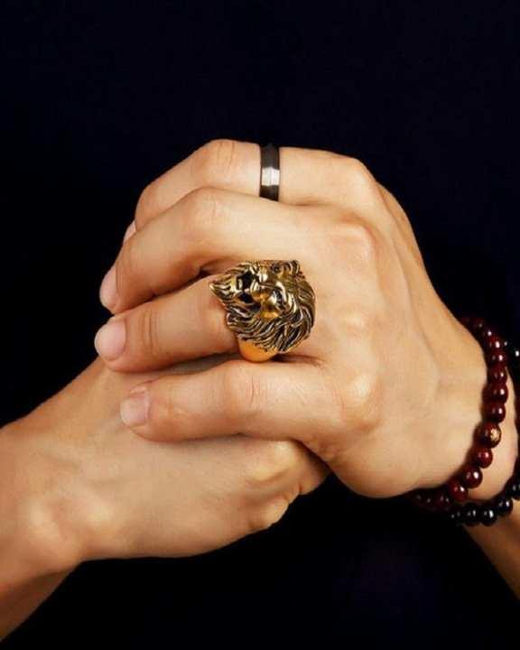 Exquisite Golden Lion Head Ring Antique Design For Men
