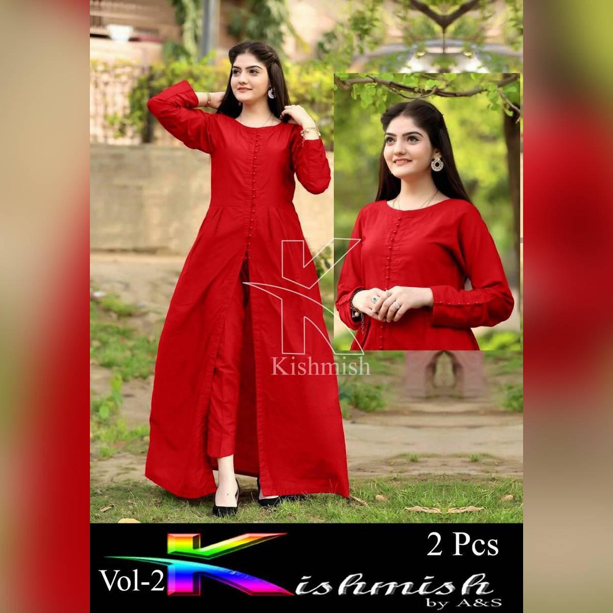 Fashion cutz Stitched button open plain Frock ( 2 pcs ) Dress For Girls & women