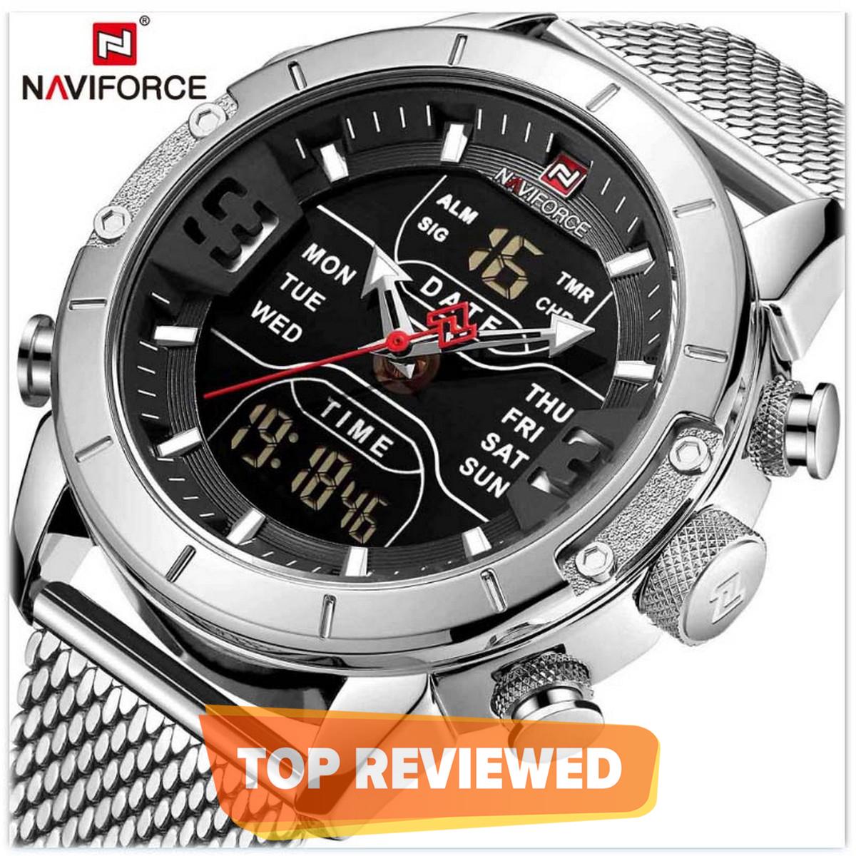 NAVIFORCE 9153 Japan Movement Dual Display Stainless Steel Quartz Waterproof Men's Watch With Brand Box