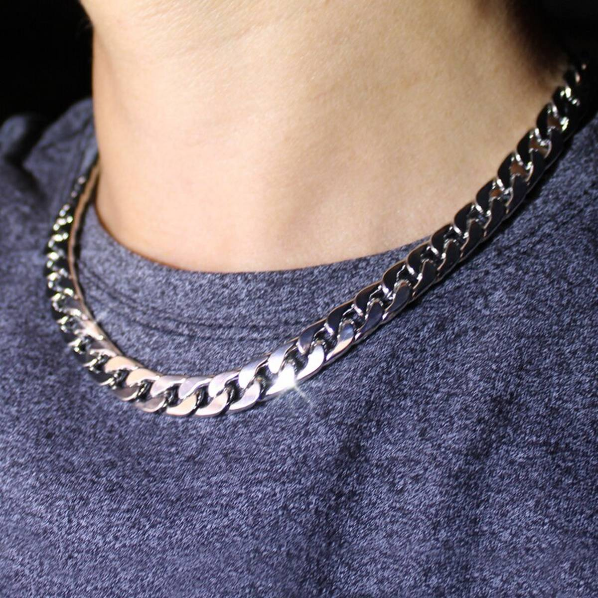 Solid Silver Italian Cuban Link Thin Silver Color Stainless Steel Neck Chain for Men's/Female-Made in Italy