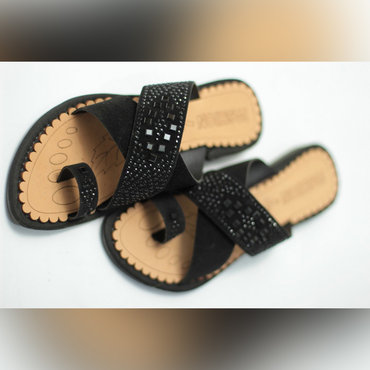 Alra Variety Store - Stylish Black Crafted Slippers For Women
